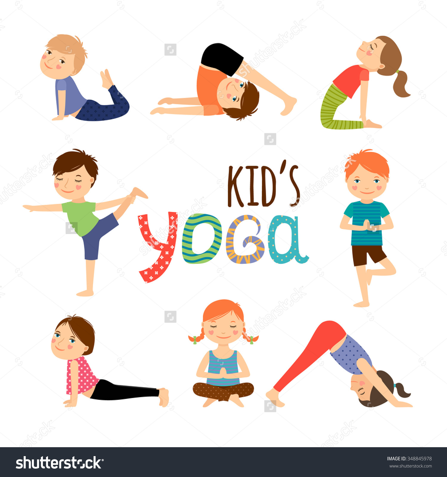stock-vector-yoga-kids-set-gymnastics-for-children-and ...
